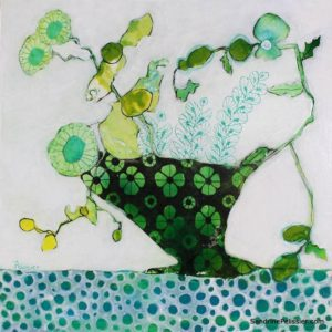 flowers painting with patterns by North Vancouver artist Sandrine Pelissier