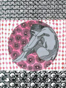 life drawing with patterns by North Vancouver artist Sandrine Pelissier