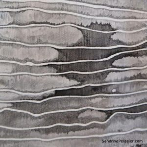 India ink tree cookie painting by North Vancouver artist Sandrine Pelissier