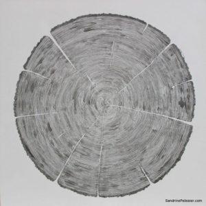 India ink tree cookie painting by North Vancouver artist Sandrine Pelissier