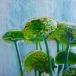 green flowers painting