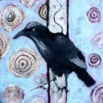 ink resist crow painting