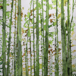 trees with patterns painting by North Vancouver artist Sandrine Pelissier