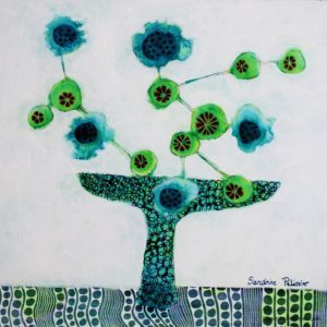 flowers paintings from imagination by North Vancouver artist Sandrine Pelissier