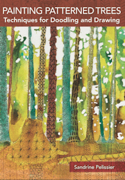 painting patterned trees by North Vancouver artist Sandrine Pelissier
