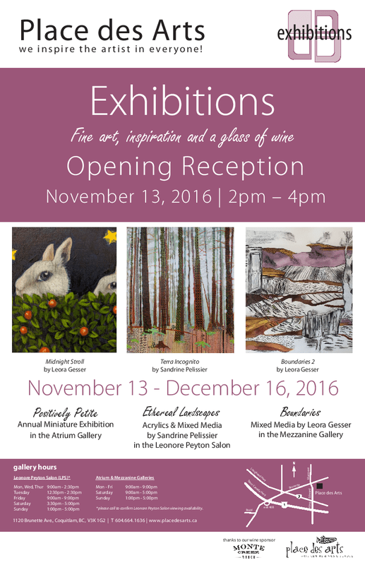 solo exhibition by North Vancouver artist Sandrine Pelissier at Place des Arts in Coquitlam