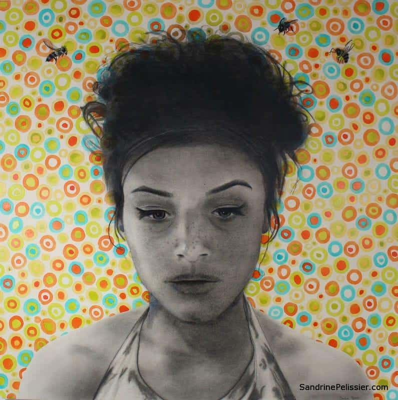charcoal portrait with patterns by North Vancouver artist Sandrine Pelissier