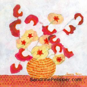 painting flowers from imagination by North Vancouver artist Sandrine Pelissier