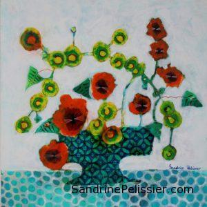 painting flowers from imagination by Canadian artist Sandrine Pelissier