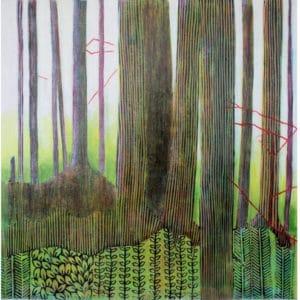 linoprint on canvas by North Vancouver artist Sandrine Pelissier